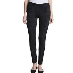 Andrew Marc Black Faux Suede Seamed Front Leggings